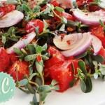 Ζεστή Σαλάτα με Μελιτζάνες, Ντομάτες και Γλιστρίδα