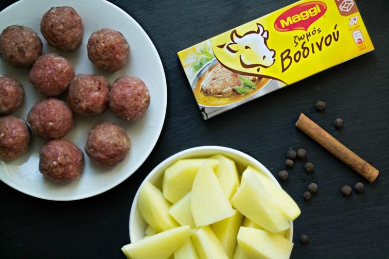 Κεφτεδάκια με Πατάτες Γιαχνί
