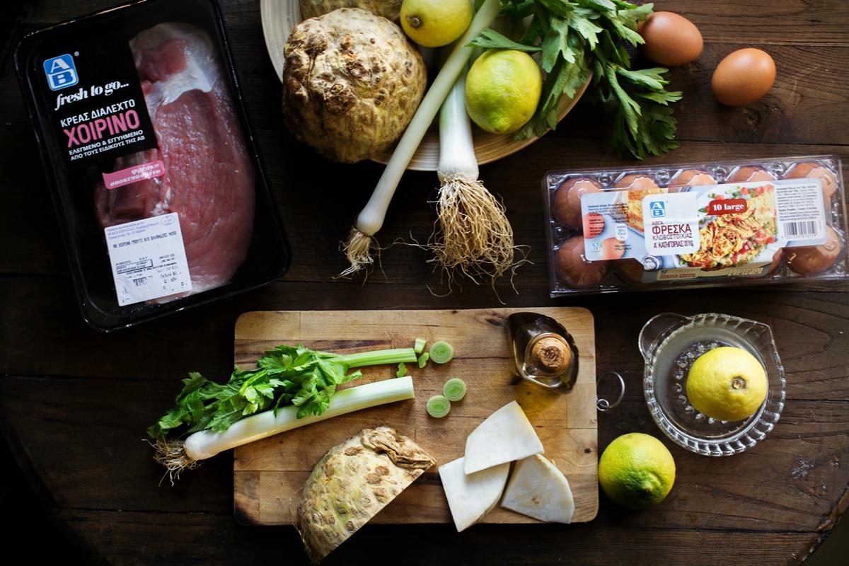 Χοιρινό με Σελινόριζα Αυγολέμονο Υλικά