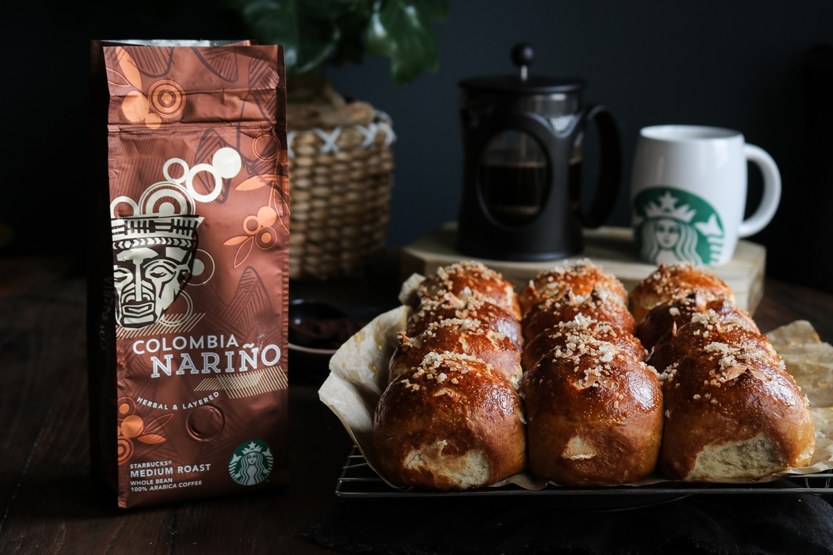 pretzel buns and Starbucks Colombia Narino