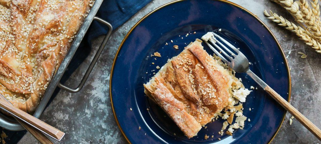 Κρεμμυδόπιτα με ξινομυζήθρα, μανούρι και κατσικίσιο τυρί