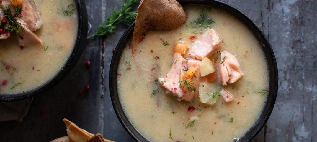 Σούπα με Σολομό, Πατάτες και Πράσο
