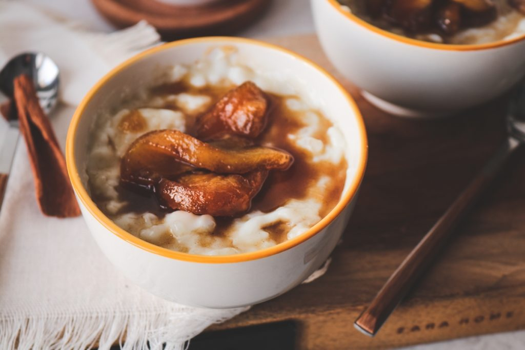 Rice Pudding with caramelized apples