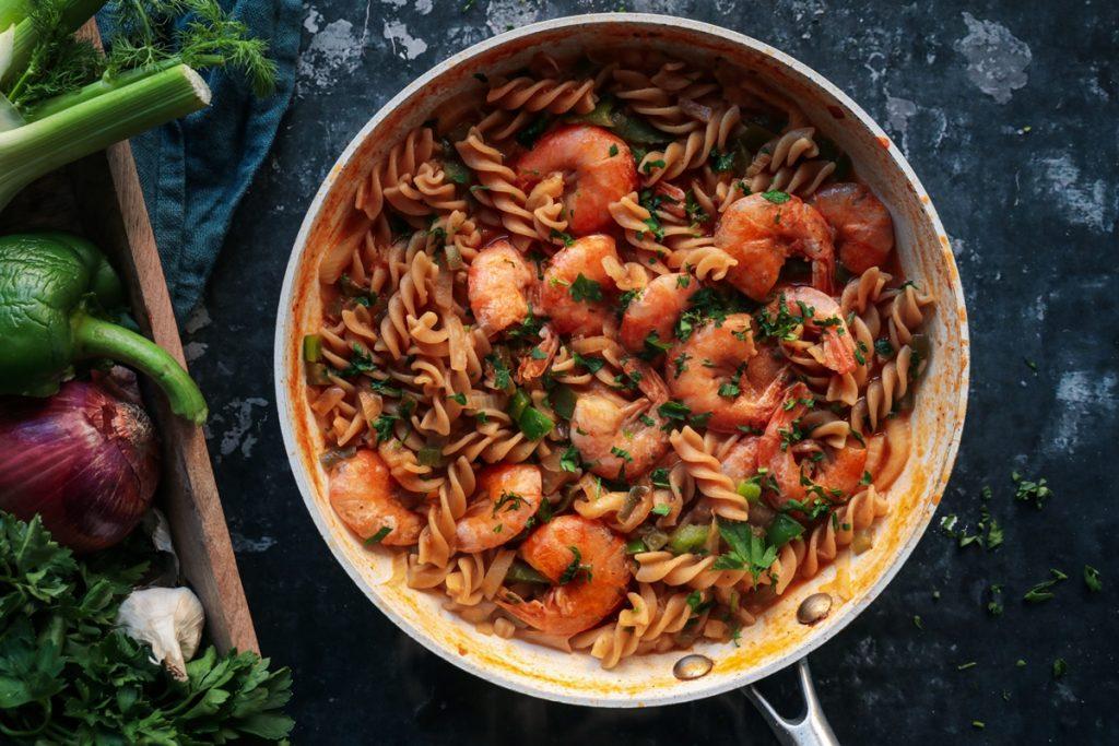 Ζυμαρικά με γαρίδες και μουστάρδα συνταγή