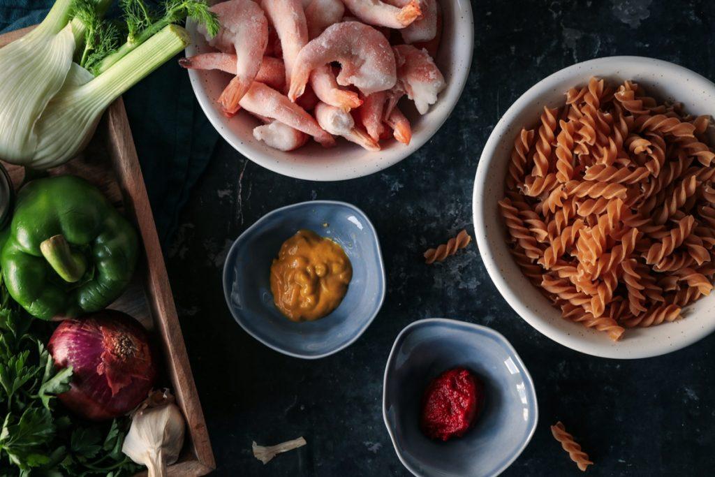 Συνταγές για γαρίδες, μουστάρδα και μαραθόριζα