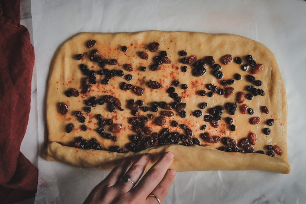 Συνταγή για σταφιδόψωμα, cinnamon buns με σταφίδες