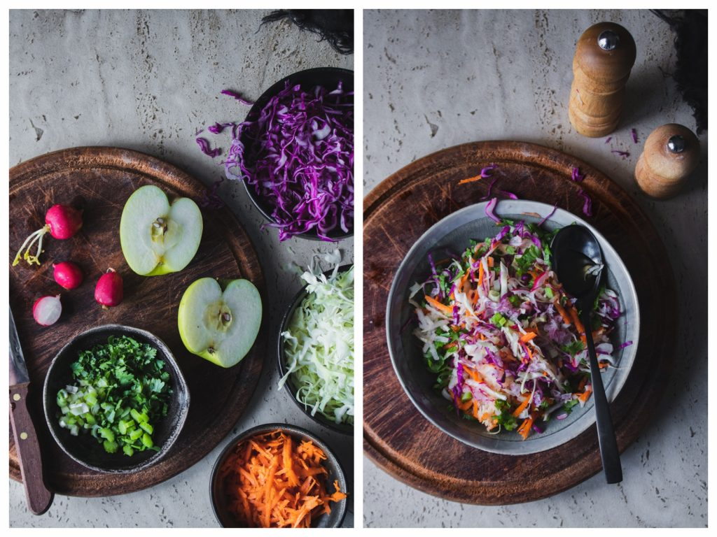 coleslaw με λάχανο και ξινόμηλο συνταγή