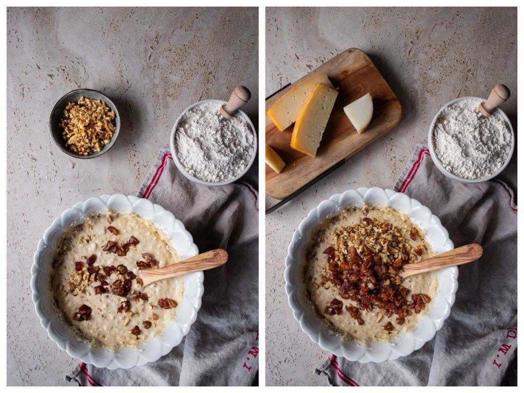 Κέικ με πικάντικα τυριά Σαν Μιχάλη και Μετσοβόνε